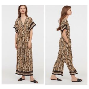 H&M Snake Skin Print Cropped Relaxed Fit Jumpsuit